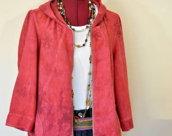 """Red Small Linen JACKET - Crimson Red Hand Dyed Upcycled Coldwater Creek Linen Hooded Jacket - Adult Womens Medium (44"""" chest)"""