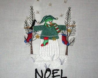 Snowman Embroidered Quilt Block 2017