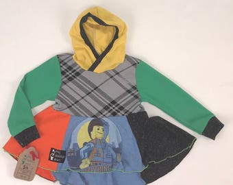 Size 2t - Upcycled Hi-Lo Tunic Hoodie