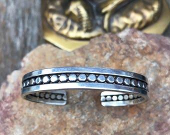 Vintage Sterling Silver Native American Beaded Cuff Bracelet