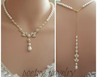 Gold Backdrop Bridal Necklace, Wedding Gold Pearl Back Necklace, Wedding Jewelry, Gold Bridal Jewelry, Crystal Bridal Back Necklace, Amity