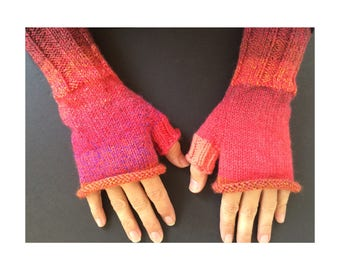 Fingerless Gloves - Hand-Knit Gloves - Women's Fingerless Gloves - Half Gloves  - Bright Red Gloves - Women's Winter Gloves - Holiday Gift