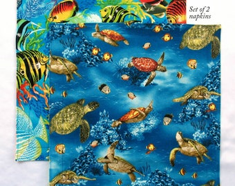 Kids Cloth Napkins 12 inch School Lunch Napkins, Set of 2 Sea Turtles Tropical Fish