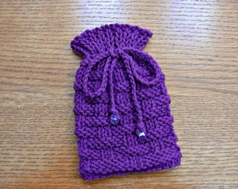 Small Drawstring Pouch, Knitted Pouch Bag, Amulet Bag, Dice Bag, Small Knit Gift Bag