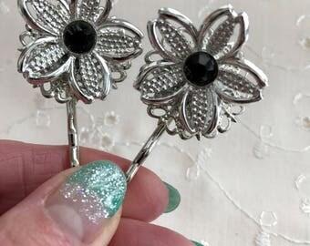 Vintage Black Rhinestone Hair Bobby Pins Bridesmaid Wedding Prom Art Deco Silver Doodaba