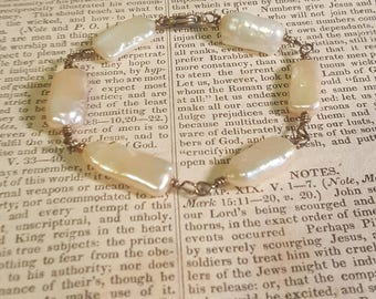 Bohemian Gypsy Creme Fresh Water Pearl Rectangular Bead Wire Wrapped Beaded Bracelet Assemblage Jewelry