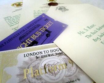Wizarding School Acceptance Letter, Train Ticket, & Bus Ticket Package
