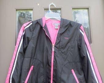 vtg   90s Oleg Cassini womens     black with stripes  pink /black/ white hooded windbreaker jacket  sz small