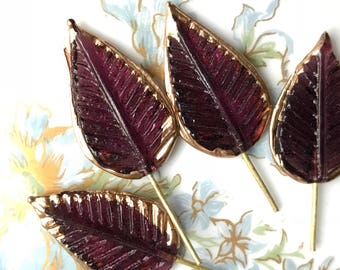4 Wired Glass Leaf Charms, amethyst Leaves, Gold dipped Leaves, Vintage Supplies, Vintage Glass on Wire, Jewelry design, Minimalist #442