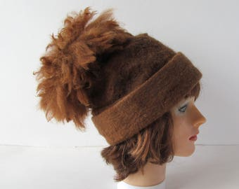 Beanie Felted hat with pompon Brown Alpaca hat  Brown wool beanie hat Felt warm hat Brown Wool Hat pompon Warm felt hat outdoors gift