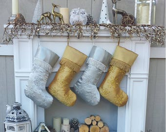 Gold christmas stockings | Etsy