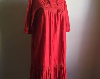 SUMMER SALE 70s SONYA Indian Red Cotton Tent Dress • Free Size Dress