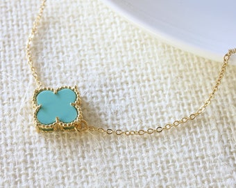 Turquoise Flower Necklace - Four Leaf Flower Necklace - Blue Flower Necklace - Lucky Flower - Quatrefoil Necklace - Celebrity Inspired