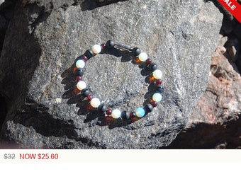 "Large Black Agate and Moonstone Bracelet - ""The News"""