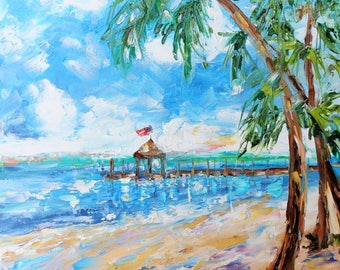 Beach Story painting original oil 12x12 abstract palette knife impressionism on canvas fine art by Karen Tarlton