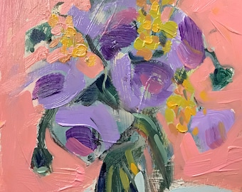 Purple Poppie Original Still Life Floral Oil Painting by Angela Moulton