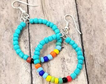 Her Christmas Gift - Beaded Hoop Earring - Young Girl Gift - Small Boho Hoop Earrings -Turquoise Rainbow Hoops - Gift for Teen Girl