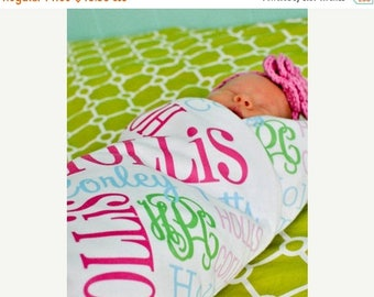New Years SAVINGS Personalized Baby Blanket Monogrammed Baby Blanket Name Blanket Swaddle Receiving Blanket Baby Shower Gift Photo Prop Birt