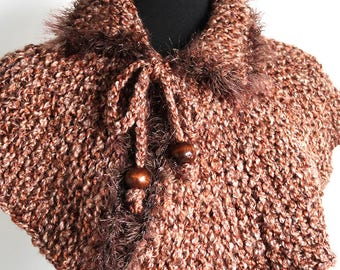 Outlander Inspired Light Brown Pecan Color Chunky Knitted Capelet Cape Collar Faux Fir Trim Cowl Gaiter with Cord Ties Wooden Beads