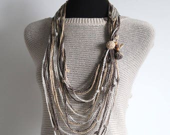 Linen Cotton Yarn Beige Oatmeal Brown Color Crochet Chains Cords Lariat Bib Necklace with Crochet Wooden Beads