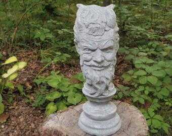"Antiqued 13"" Cement Devil Head Satan Lucifer Garden Art Statue Concrete Ritual Cult Gray & White"