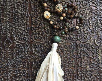 Courageous Spontaneity ~ Mala ~ Indonesian Fossil Coral ~ African Green Opal ~ Bronzite ~ Porcelain ~ Tassel: Silk Sari