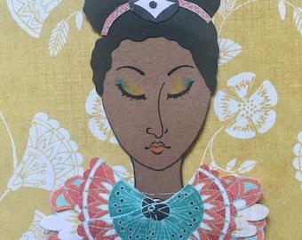 SALE - Mermaid Paper Doll 108 - Tribal Love