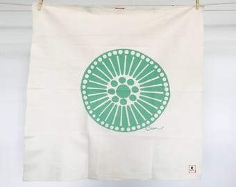 Green Medallion Tea Towel - READY TO SHIP