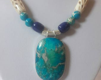 Gorgeous Natural Stone pendant necklace with Turquoise, Lapis and white Coral  stones.