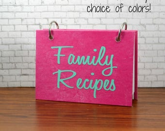 Index card binder with name in custom colors, script font, Family Recipes, personalize your journal, organize recipe cards, meal planning