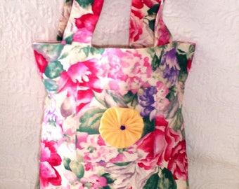 Tote Bag with Pocket, Market Bag, School Bag, Book Bag, Library Bag, Small Tote Purse, Day Care bag, Handmade Fabric Bag, Shopping Bag