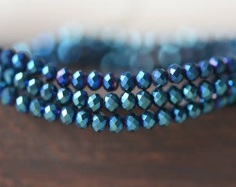 145pcs Crystal Glass Rondelle Faceted Tiny beads 2x3mm, Sparkly Metallic Blue Green (#BZ03-56)