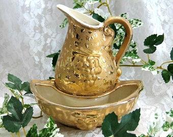 Collectible Pitcher Decor 24k Gold Pitcher Vase Elegant Hollywood Regency Weeping Gold Vase Ceramic Pitcher and Bowl Wall Vase Wall Pocket