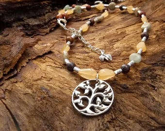 One-off charming Tree-Gemstone Necklace + FREE matching earrings