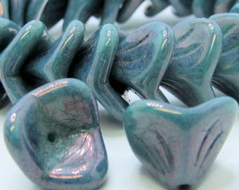 Czech Glass Beads 12 x 10mm Opaque Marbled Aqua Blue Frosted with an AB Sheen Bell Flower Beads - 12 Pieces