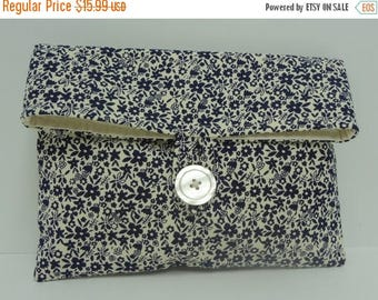 ON SALE Navy Clutch Bridemaid Bag in Navy and Cream Floral Navy Blue Wedding - READY To Ship