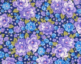 ON SALE Purple, Blue, White and Green Floral 100% Cotton Quilt Fabric from Fabric Traditions, FAT12894-N, Fat Quarter, Yardage, Made in Amer