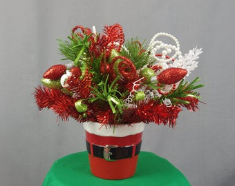 Christmas Centerpiece, Santa Centerpiece, Christmas Decoration, Red and Green, Holiday Centerpiece, Holiday Decor, Christmas Arrangement