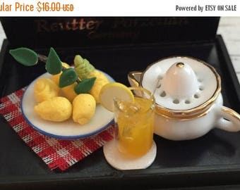 ON SALE Miniature Lemonade Juice Making Set by Reutter, Collectible Dollhouse Miniatures, Includes Porcelain Bowl of Lemons, Lemonade, Juice