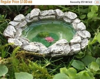 SALE Micro Mini Frog Pond, Fairy Garden Accessory, Garden Decor, Miniature Gardening, Topper, Stone Pond with Frog