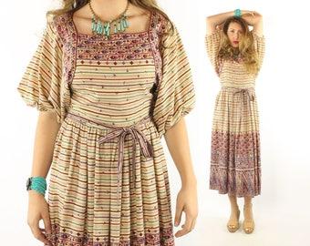 Vintage 70s Victor Costa Dress Peasant Festival Hippie Boho Short Sleeve Sundress 1970s Medium M