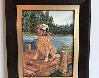 "Vintage Golden Retriever Dog Framed Acrylic Painting 12 5/8"" x 10 5/8"" in Frame"