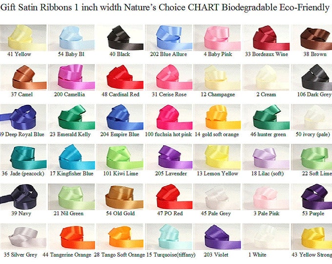 Gift Satin Ribbons (many colors) 1 inch width, non-fray cut edge 30 ft Charles Clay Nature's Choice Bio Degradable Ribbon, made in England,