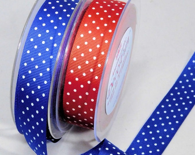 Dot Grosgrain Ribbon printed 2 sides REVERSIBLE ribbon Washable Woven Edge Made in England for Christmas, hair bows, food party favor gift