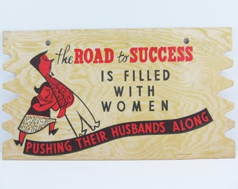 Vintage Oversize Comic Postcard The Road To Success Is Filled With Women Pushing Their Husbands Along