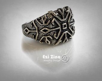 Ezi zino man Signet ring Handmade solid Sterling Silver 925