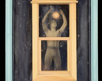 Star Man: Mixed media collage, assemblage art, original wall art, upcycled sustainable, by Leslee Lukosh of Foundturtle in Portland, Oregon.