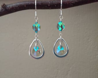 Swarovski Crystal Earrings, Sterling Silver, Double Crystal, Paradise Shine, Tear Drop Sterling Frame, Cute Colors and Sparkle, Minimal