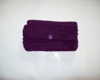 Plumb Crochet Clutch , Cosmetic Bag, Toiletry Bag,  Coupon Holder, Makeup Bag