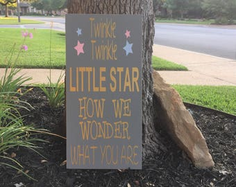 Gender Reveal Decorations ~ Twinkle Twinkle Little Star ~ Gender Reveal Party ~ Custom Wood Sign ~ Baby Shower Gift ~ Gender Reveal Ideas